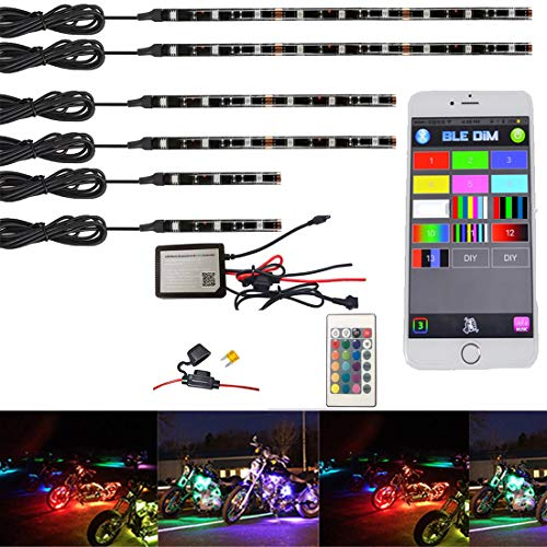 (NBWDY 6Pcs Motorcycle LED Light Kit Strips Multi-Color Accent Glow Neon Ground Effect Atmosphere Lights Lamp with LED Music Bluetooth & IR RGB Controller for motorcycle,ATV,golf Car (Pack of 6))
