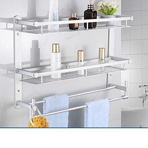 80%OFF Bathroom racks/Space aluminum Towel rack/Bathroom double Towel rack-A