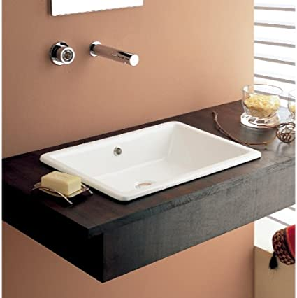 D Above Counter Rectangle Vessel In White Color For Deck Mount Faucet W x 14.25-in American Imaginations AI-888-1299 20-in
