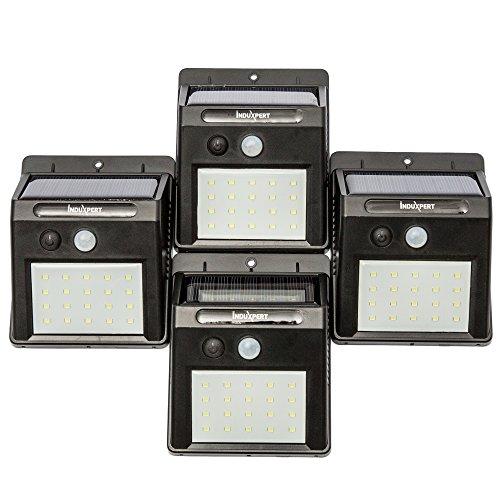 Induxpert LED Motion Sensor Lights - With Solar Panel - 20 LED Wireless Waterproof - Ideal for Patio, Deck, Garden, Yard, Garage - Motion Activated - Night Sensor - High Light/Dim Light Modes - 4 PCS