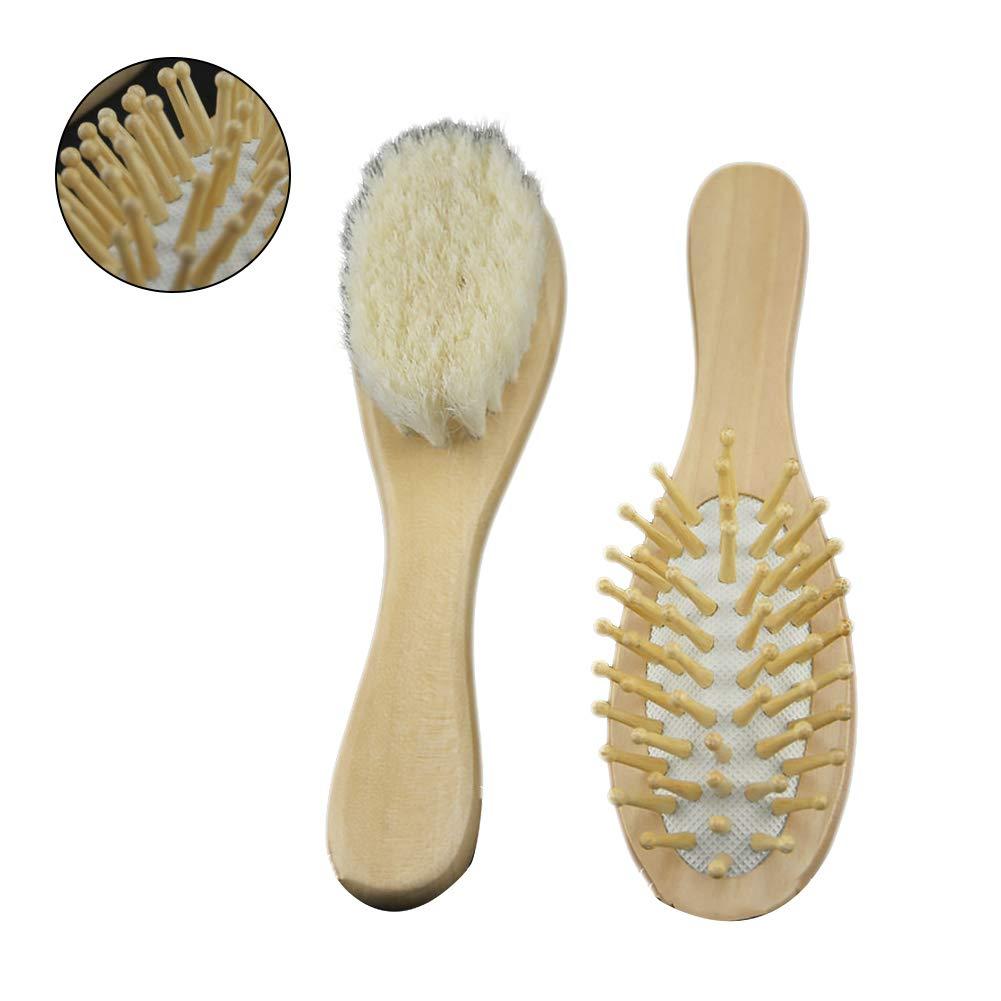 Rrunzfon Baby-Haar-B/ürste 2Pcs Holz Haare k/ämmen und Badeb/ürste mit weichen Borsten Neugeborenen und Kleinkindern Dusche Zubeh/ör