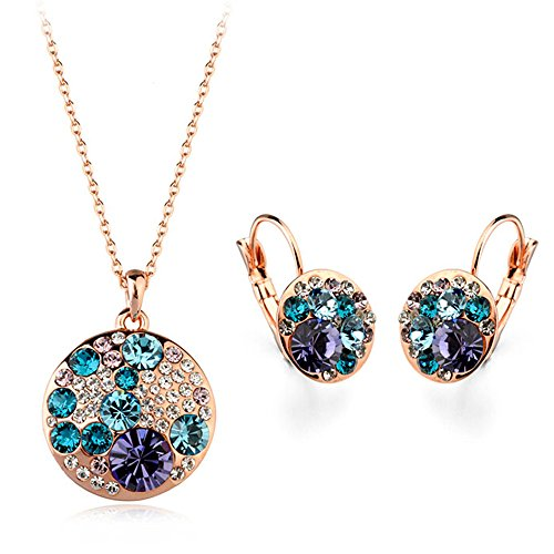 Gold Plated Mickey Mouse with Blue and Purple Swarovski Elements Crystal Pendant Necklace Fashion Leverback Earrings Jewelry Set for Girls