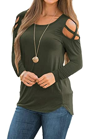 c1bee9c36254e EZBELLE Women s Casual Strappy Cold Shoulder Tops Long Sleeve Basic T Shirt  Loose Plain Tunic Blouses