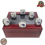 New England Patriots Football Super Bowl 2001 (XXXVI)、2003 (XXXVIII)、2004 (XXXIX)、2014 (XLIX)、2016 (LI)、2018-2019 (LIII) New Championship Replica Ring Set Tom Brady (6-15) (With Wooden Box, 14)