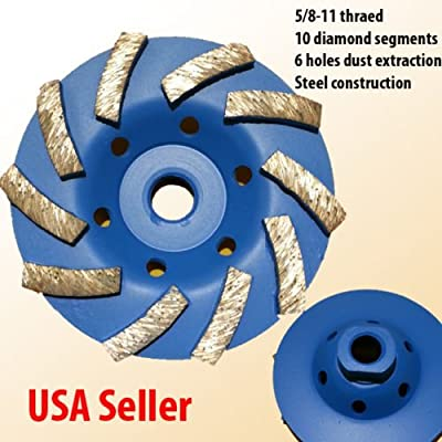 "4"" 5/8-11 Thread Diamond Grinding CUP Wheel Disc Grinder Concrete Granite Stone"