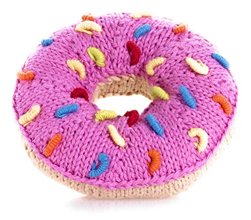 (Pebble | Handmade Donut Baby Rattle with Sprinkles - Pink | Knitted Baby Toy | Fair Trade | Play Food | Machine)