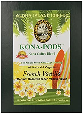 Aloha Island Coffee French Vanilla Kona Blend Organic Coffee Pods, 36 Pods, 36-Count