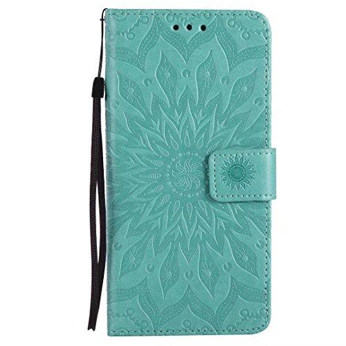 COWX Huawei P10 lite Hülle PU Lederhülle für Huawei P10 Lite Tasche - Sonnenblume Grün knzqGS00