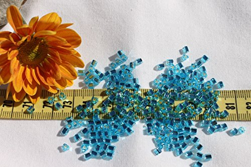 8/0 Triangle Toho Glass Seed Beads 16-Silver Lined Aquamarine/ 28 Grams # 23. Perfect for Earrings, Necklaces or (Opal Glass Triangles)