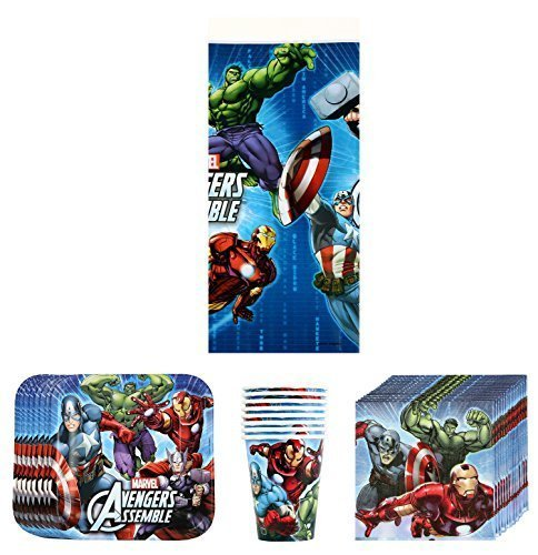 Marvel Avengers Birthday Party Supplies Pack Bundle Kit Including Plates, Cups, Napkins and Tablecover - 8 Guests