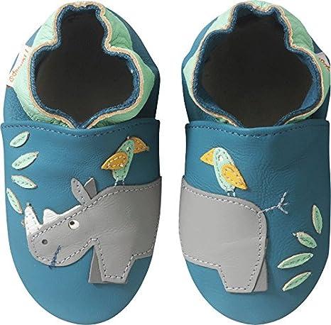 4cfaa40ff11c0 Tichoups Chaussons bébé cuir souple Hugo le rhino 16 17  Amazon.fr ...