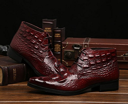 Amazon.com | Jsix Real Leather Mens Ankle Boots Lace up Crocodile Embossed | Boots
