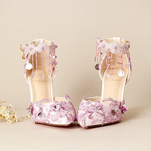 Pumps Wristbands Pumps 9Cm Shoes Dresses Heel 8 Super Purple Wedding VIVIOO Higher Bridal Stiletto Prom Sequins Tassels Baotou Heels Women'S Sandals UqYnZ8wXx