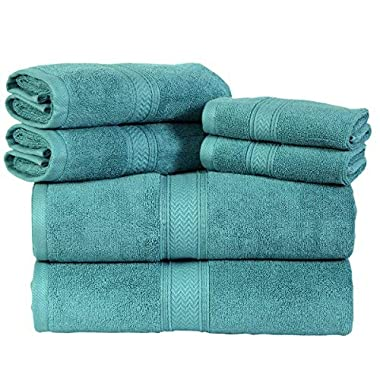 HILLFAIR Premium 600 GSM 6 Piece Towel Set- 2 Bath Towels, 2 Hand Towels & 2 Washcloth - Aqua Cotton Bath Towel -Machine Washable, Hotel Quality Towels,Super Soft & Highly Absorbent Cotton Towels