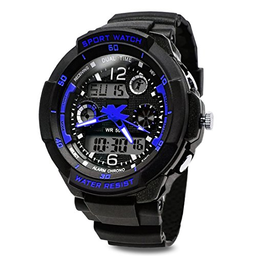 TOPCABIN Digital-analog Boys Girls Sport Digital Watch with Alarm Stopwatch-50m Water Proof Blue