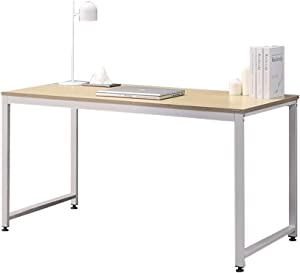 """SOFSYS 55.1"""" Computer Writing Desk Workstation Table Home Office Design for Video Gaming, Designers and Entrepreneurs, Large Desktop with Sturdy Metal Frame, Oak/White"""