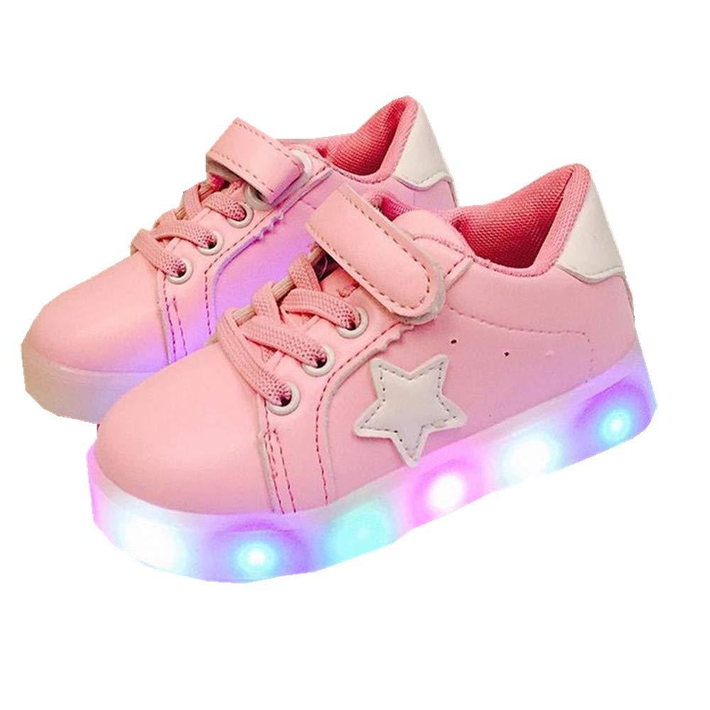 edv0d2v266 Autumn Toddler Sport Running Baby Shoes Boys Girls LED Luminous Shoes Sneakers (Pink 29/11.5MUSLittleKid)