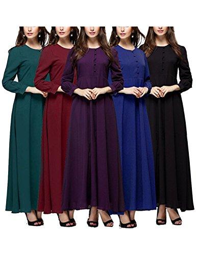 Sitengle Mujeres Musulmán Vestidos Largo de Muslim Vestido Manga Larga Coctel Partido Vestido de Noche Banquete color 5