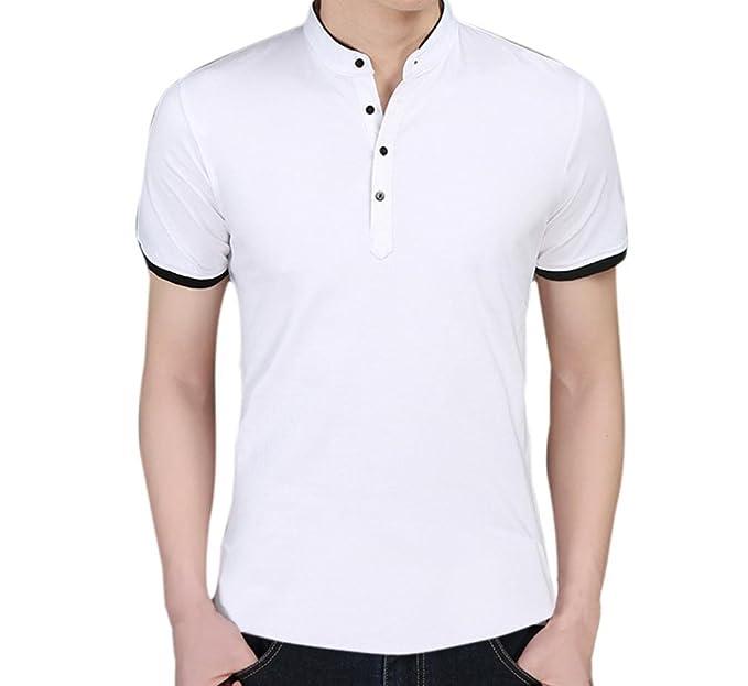 LuckyGirls Camisetas Hombre Manga Corta Moda Verano Cuello Abierto Polos Personalidad Casual Originales Blusa Camisas Remera