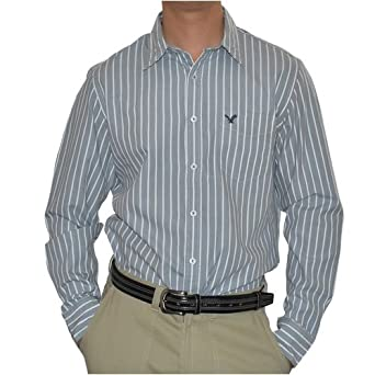 191859cd6b Mens American Eagle Outfitters Striped Date vintage fit gray and white long  sleeve shirt. Great