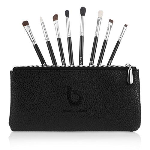 Eyeshadow Blending Makeup Brush Set – Free Case Includes 8 Must Have Eye Shadow & Eyeliner Brushes: Pencil, Tapered Blending, Crease, All Over Shader, Eye Liner, Angled Shading, Flat Definer, Blendi