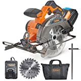 "VonHaus 20V MAX Cordless Circular Saw with Brake and 2 x 6-1/2"" Saw Blades - 3.0Ah Lithium-Ion Battery and Charger Kit Included"
