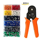 Wire crimping tool, Ernovo Crimper Plier Wire Terminal and Connection Kit with 175mm Ferrule Crimper Plier/Wire Stripper with 800pcs Connectors Terminal