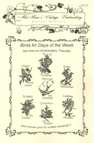 Birds Feathered Friends Hot Iron Embroidery Transfers ()