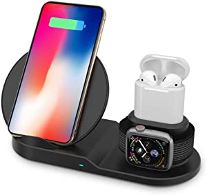 MMOBIEL 3 in1 Wireless Charger Stand Dock Station, Qi Certified 10W Compatible with iPhone 11/(XS) Max/Pro/XS/XR/X, iWatch Series 4/3/2/1 AirPods