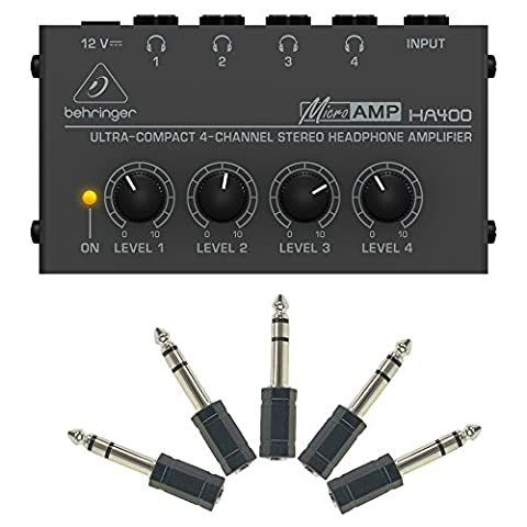 Behringer HA400 plus 5 Adapters - Microamp 4-Channel Stereo Headphone Amplifier (Behringer In Ear Monitor System)