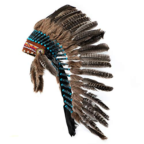 Native Americana Handcrafted Native American Inspired Turkey Feather Indian Headdress | Black & Blue | Medium