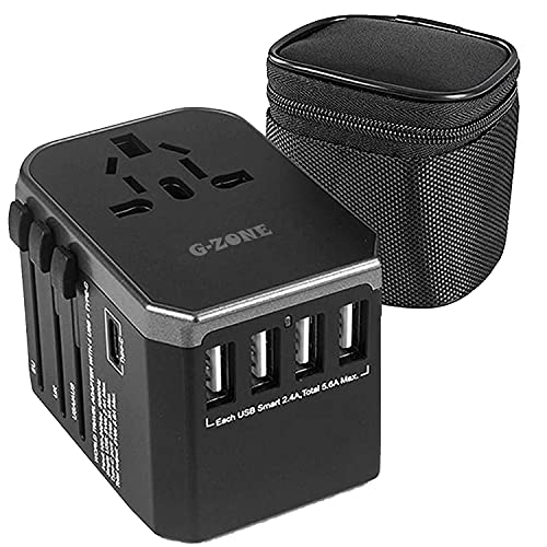 G-Zone Universal Travel Adapter | All in One USB Power Charger | 4 Ultra-Fast USB | 1 Ultra-Fast USB Type C Port | Power…