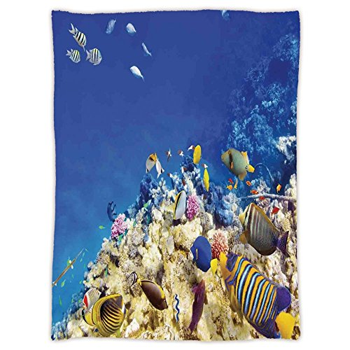 Super Soft Throw Blanket Custom Design Cozy Fleece Blanket,Ocean Decor,Underwater Life Wilderness Caribbean Ocean Vacation in Tropics Seascape Theme Image,Blue Beige,Perfect for Couch Sofa or Bed