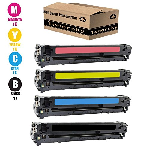 Tonersky Remanufactured Compatible with HP 128A CE320A CE321A CE322A CE323A Toner Cartridges for Use in Color LaserJet CP1525n, CP1525nw, CM1415fn, CM1415fnw Series Printers - 4PK, 1B/1C/1Y/1M ()