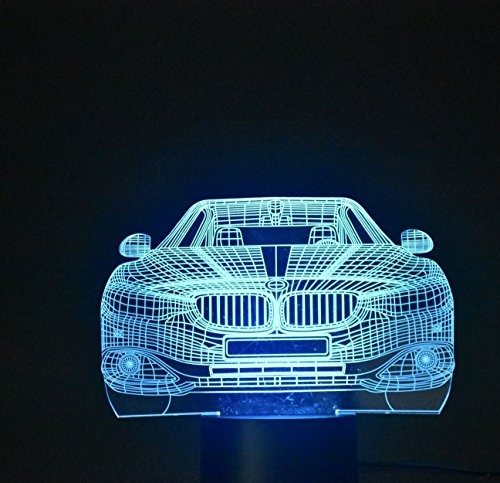 3D Night Lamp Optical Illusion Desk Light Table Lamp Smart Home Night Lights 7 Colors Change (Car one)