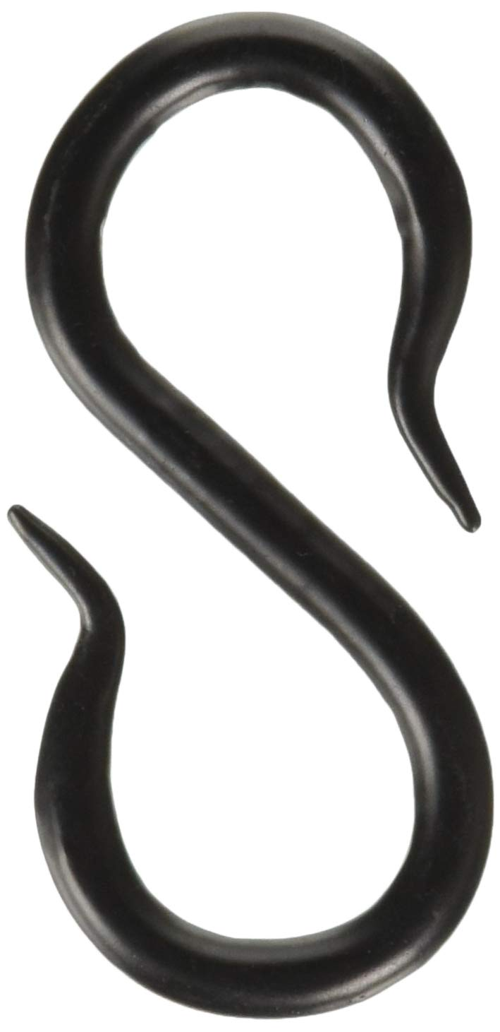 RCH Hardware SH-I-01L-BLK-5 Solid Iron S-Hooks for Connecting Chains to Fixtures | 5 Pack (Black) Piece