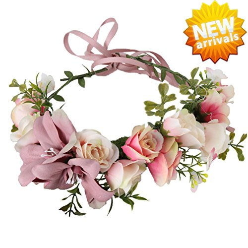 Ynimioaox Handmade Flower Headband Floral Crown Boho Wreath Halo Garland Headpiece For Festival Wedding Photography  A  Pink
