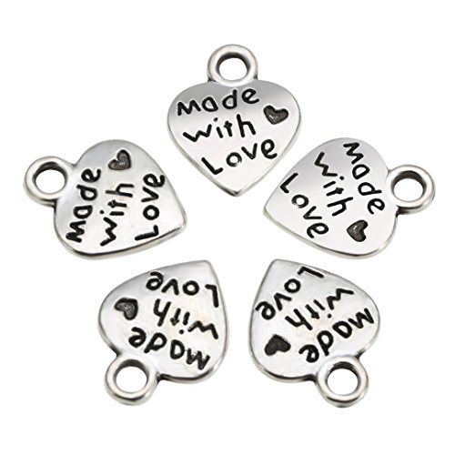 100 Pcs Love Heart Charm