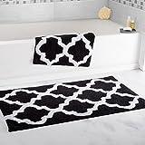 Super Absorbent 100 Percent Egyptian Cotton 2-Piece Black Trellis Bathroom Mat Set