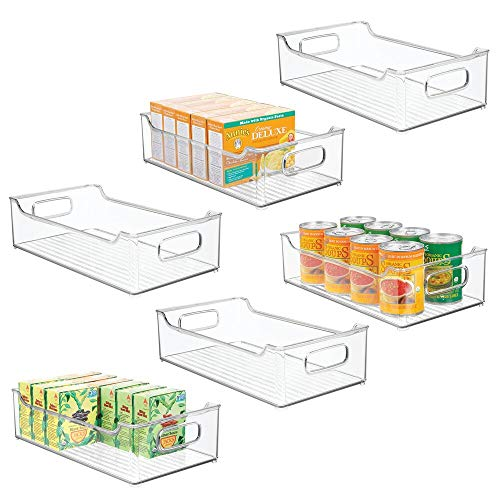 mDesign Wide Stackable Plastic Kitchen Pantry Cabinet, Refrigerator or Freezer Food Storage Bin Box Basket Tray with Handles - Organizer for Fruit, Yogurt, Snacks, Pasta - 14.5
