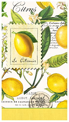 Michel Design Works 15-Count 3-Ply Paper Hostess Napkins, Lemon Basil