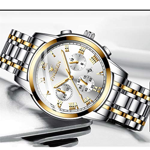 Men Watches hessimy Mens Stainless Steel Quartz Analog Wrist Watch Men Fashion Casual Sport Wristwatch Luxury Brand Business Dress Watches