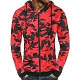 iZHH Men's Autumn Camouflage Print Zipper Hooded Sweatshirt Outwear Blouse(Red,US-S)