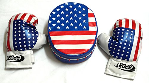 American Flag of Boxing Mitts and Gloves Set, Kids Boxing Gloves for Kids, Perfect for Your Little Boxer, Good for Exercise (1 Punch Mitt and 2 Boxing Gloves) -