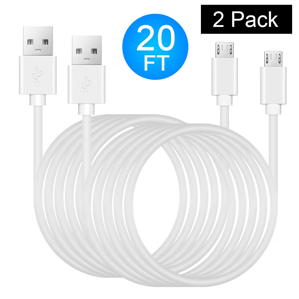 Power Extension Cable for Security Camera - 2 Pack 20 Ft Charging Cable for Wyze Cam, Yi Camera, Oculus Go, Echo Dot Kid Edition, Nest Cam, Netvue, Arlo Pro Q, Blink, Furbo Dog And Home Smart Security by COSCOD
