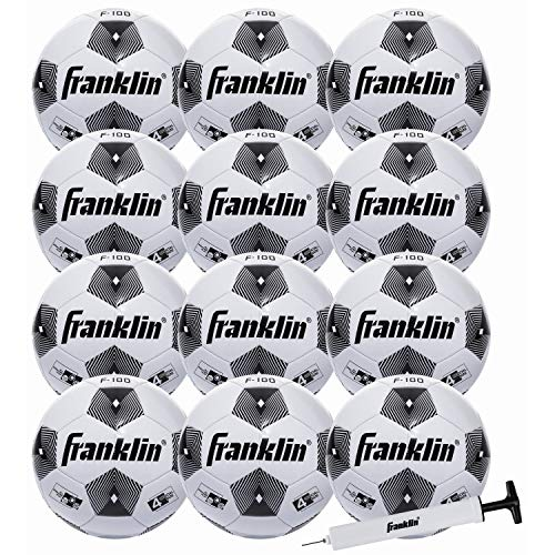 5443259f5 Franklin Sports Soccer Balls - Size 4 F-100 Soccer Balls - Youth Soccer  Balls - 12 Pack Bulk Soccer Balls with Pump