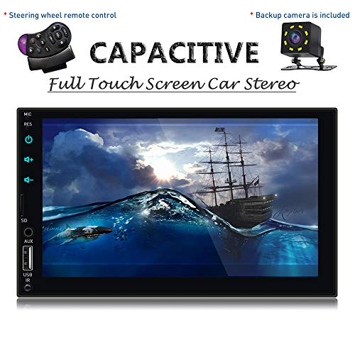 SPEEDTON Car Stereo with Bluetooth 7 inch Double Din Car Stereo with Backup Camera Full Capacivtive Touch Screen Car Radio with Mirrorlink AUX/TF/USB/Car Radio Car MP5 Player Wireless Remote Control