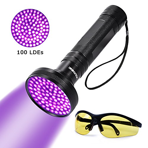 UV Blacklight Flashlight Super Bright 100 LED 18W 395nm Portable Blacklight Ultraviolet Detector...