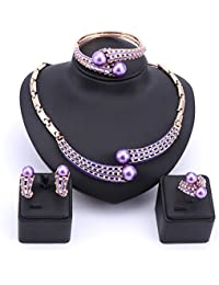 Fashion Simulated Pearl Necklace Earrings Bangle Ring...