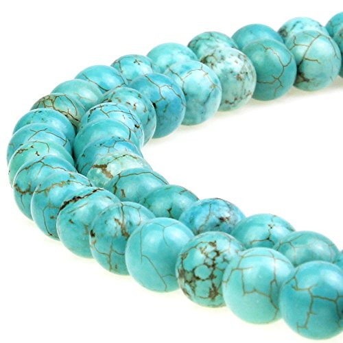 (JARTC Best Sellers Stone Beads Turquoise Round Loose Beads for Jewelry Making DIY Bracelet Necklace)